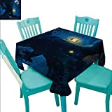 """Fantasy Decorative Textured Fabric Tablecloth Magical Night With A Little Home in the Trunk of An Ancient Tree in The Woods Print Waterproof/Oil-Proof/Spill-Proof Tabletop Protector 70""""Wx70""""L Navy Bl"""