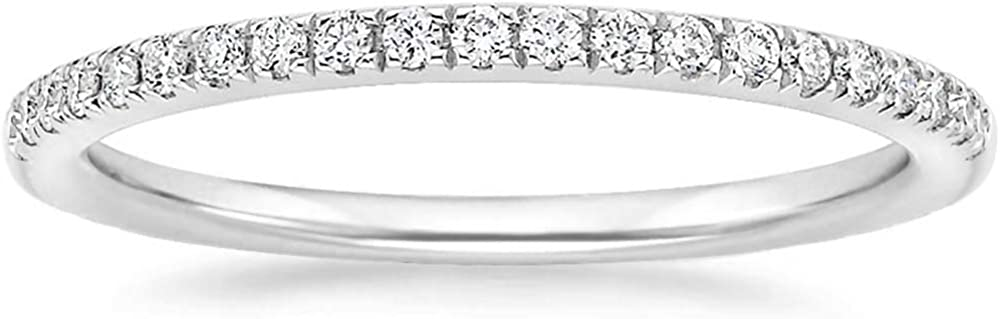 EAMTI 2mm 14K White Gold Plated Wedding Band Cubic Zirconia Half Eternity Stackable Engagement Ring Size 3-13