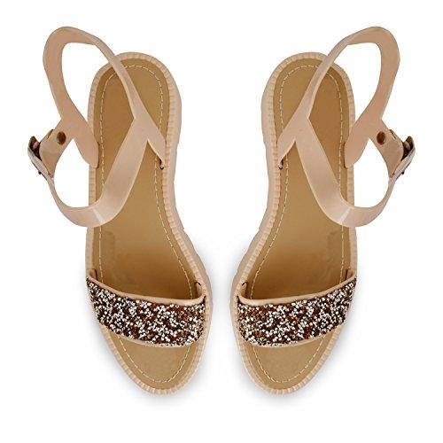 Tilly Shoes Flatform Plataforma Diamante Correa De Tobillo Cleated Sandalias Zapatos Talla - 839-Gold