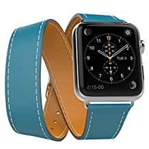 Apple Watch Band Series 1 Seris 2, MoKo Luxury Genuine Leather Smart Watch Band Strap Double Tour Replacement for 38mm Apple Watch 2015 & 2016 All Models, Peacock BLUE (Not Fit 42mm Versions)
