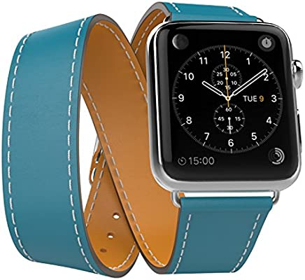 MoKo Correa Compatible con Apple Watch SERIES 4/3/2/1 38mm 40mm - Doble Tour Reemplazo SmartWatch Band de Reloj Cuero Auténtico Imitado Pulsera ...
