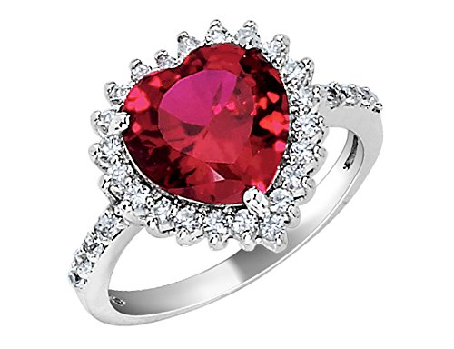 Gem And Harmony Lab Created Ruby Heart Ring in Sterling Silver from Gem And Harmony