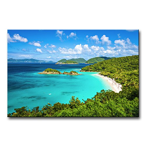 Trunk Bay St John Usvi - Wall Art Decor Poster Painting On Canvas Print Pictures Trunk Bay St John Virgin Islands United States Seascape Beach Framed Picture for Home Decoration Living Room Artwork