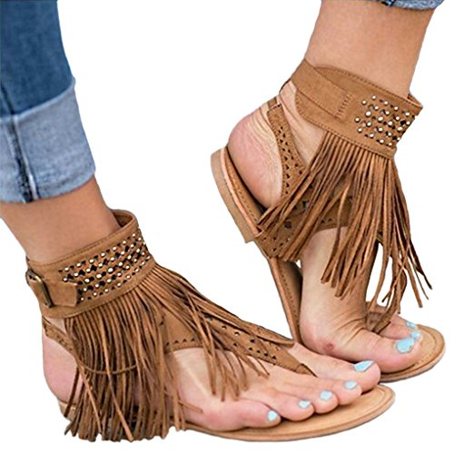 Minetom Sandalen Damen Schuhe Flip-Flops Böhmen Shoes Schuh Sommer Bequeme Frauen Übergröße Offene Strand Quaste Flache Badesandalette Braun