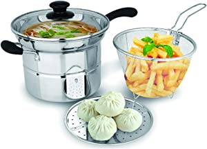 Stainless steel multi-function noodle pot, multi-purpose soup pot, small fryer, steamer, boiling pot, induction cooker, gas universal pot