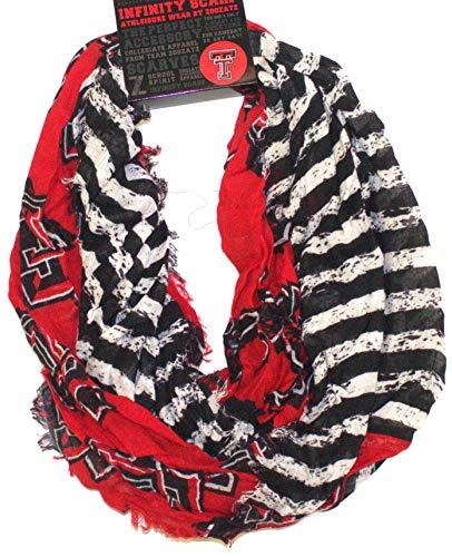 Zoozatz Texas Tech Red Raiders Striped 2 Tone Infinity Scarf