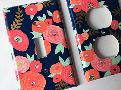 Coral Mint Navy Floral Light Switch Plate Cover - Various Sizes Light Switchplates Offered