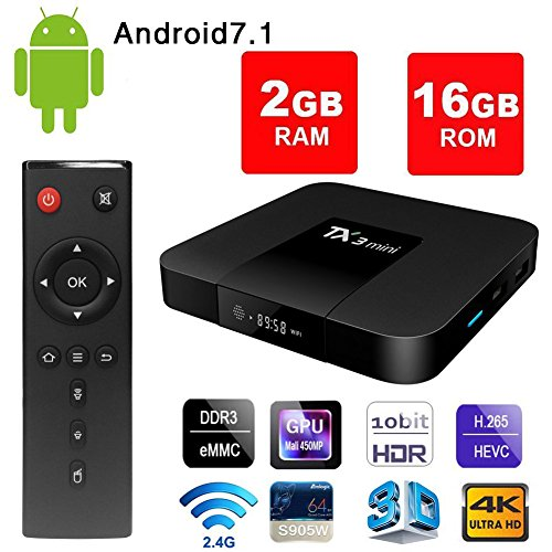 Android 7.1 Smart TV Box - VGROUND TX3 Mini Android TV Box with S905W Quad Core 64 Bit 3D 4K H.265 Decoding 2.4GHz WiFi-2G+16G by VGROUND