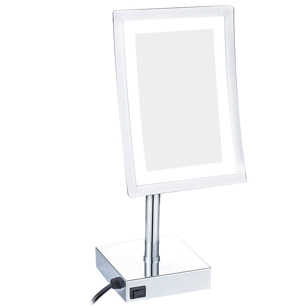 GuRun 8 inch Rectangle Tabletop LED Lighted Makeup Mirror Vanity Mirror with 3x Magnification,Chrome Finish M2239D(8in,3)