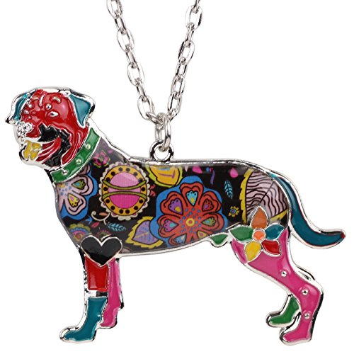Rottweiler Pendant (Bonsny Love Heart Enamel Zinc Alloy Metal Rottweiler Necklace Dog Animal pendant Jewelry Unique Design (Multicolor))