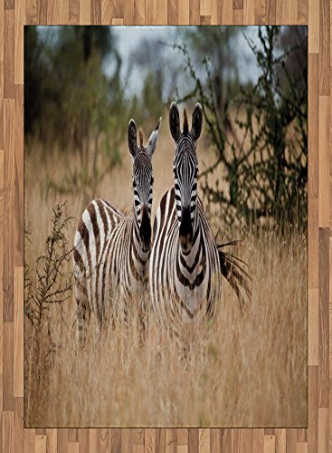 Africa Area Rug by Lunarable, Kenya with Zebras in the High Bushes Looking at the Camera Striped Unique Animal, Flat Woven Accent Rug for Living Room Bedroom Dining Room, 5.2 x 7.5 FT, Multicolor by Lunarable
