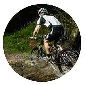 alfombrilla de ratón ciclista de montaña que cruza lecho de un arroyo - ronda - 20cm
