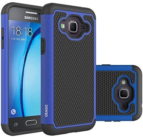 OEAGO Samsung Galaxy J3 6 (2016) Case, Galaxy J3 V J3V Case, Galaxy Sky Case, Galaxy Amp Prime Case, Galaxy Express Prime Case, Galaxy Sol Case, Shock-Absorption Dual Layer Defender Cover - Black