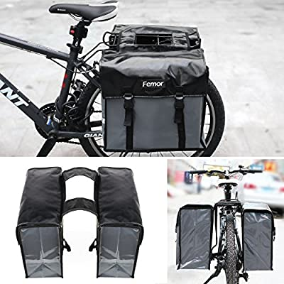 femor Bike Pannier Bags Waterproof Bicycle Grocery Panniers Black Best Mountain Road Bike Trunk Bag 40L Double Bike Saddle Bag with Adjustable Straps