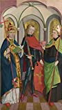 Perfect effect Canvas ,the Beautiful Art Decorative Canvas Prints of oil painting 'Circle of Master of Liesborn-Saints Gregory, Maurice and Augustine,about 1465-90', 30x54 inch / 76x136 cm is best for Wall art decor and Home decor and Gifts