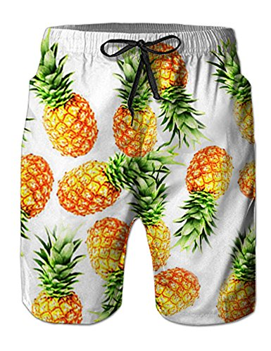 Leapparel Trendy White Male Swimwear Trunks Board Swim Trucks Awesome Fruit Painted Swim Shorts with Lining for Men Boy Toddler Youth