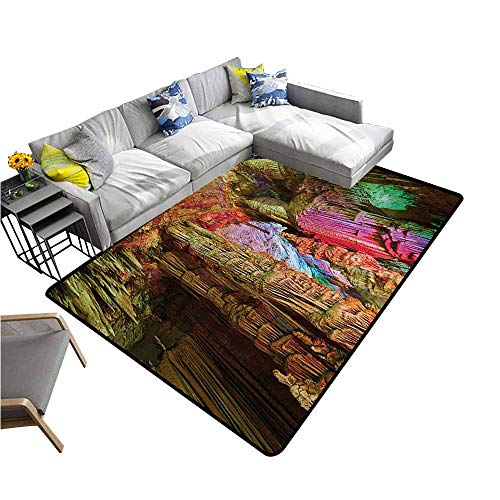 Office Chair Floor Mat Foot Pad Natural Cave,Colorful Geological Cistern Rainwater Harvest Luminous Reflections Picture,Multicolor 48