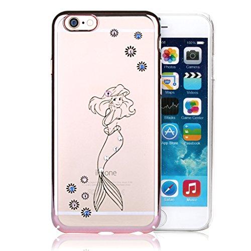 Stayoung Sirenetta-Cover con strass colorati in oro rosa, con cornice trasparente Case-Cover rigida per iPhone 6 Plus/6s 11,94 (4,7) cm