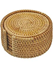 """Handwoven Rattan Coasters - Cup Base Plates & Dishes Insulated Hot Pads Pot Holder - Living & Dining Room Kitchen Accessories - Set 6 Pcs with Holder (Rattan, 4"""" Round)"""