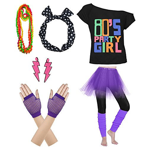 Xianhan 1980s Outfit 80's Party Womens Retro Costume Accessories Outfit Dress for 1980s Theme Party Supplies (XL/XXL, Purple)