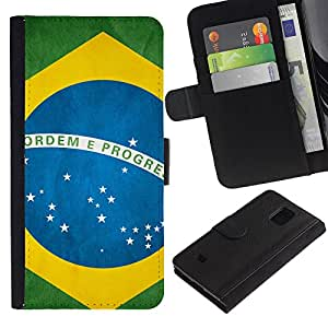 Billetera de Cuero Caso Titular de la tarjeta Carcasa Funda para Samsung Galaxy S5 Mini, SM-G800, NOT S5 REGULAR! / Brazil Flag / STRONG