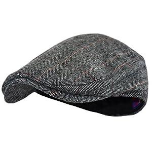 Men's Classic Herringbone Tweed Wool Blend Newsboy Ivy Hat (Large/X-Large, Gray Plaid)