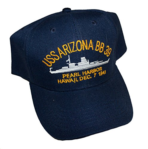 Embroidered USS Arizona Battle Ship, Pearl Harbor Hawaii, Dec. 7 1941 cap hat, Navy