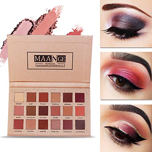 Eyeshadow Palette 18 Colors Highly Pigmented Eye Shadow Palette, 11 Matte + 7 Shimmer, Long Lasting Waterproof Colorful Eyeshadows Cosmetics