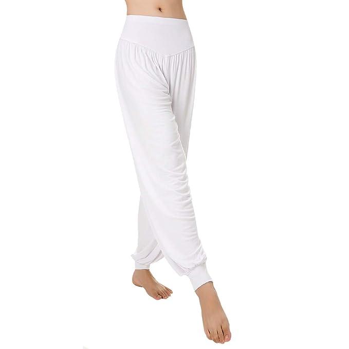 Aivtalk - Pantalones de Yoga Algodón Modal de Pretina Elástico Pantalones Bombachos de Fitness para Mujer Unisex