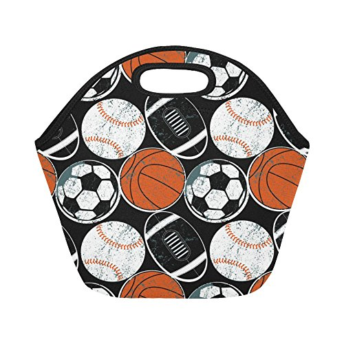 InterestPrint Retro Soccer Basketball American Football Reusable Insulated Neoprene Lunch Tote Bag Cooler 11.93'' x 11.22'' x 6.69'', Sports Ball Portable Lunchbox Handbag for Men Women Adult Kids by InterestPrint
