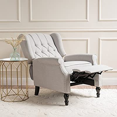 Christopher Knight Home 296110 Elizabeth Tufted Fabric Arm Chair Recliner, Beige