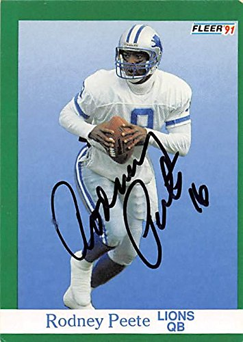 Rodney Peete autographed Football Card (Detroit Lions) 1991 Fleer #246 - NFL Autographed Football Cards