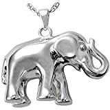 Memorial Gallery 3264wg Elephant Never Forgets 14K Solid White Gold Cremation Pet Jewelry