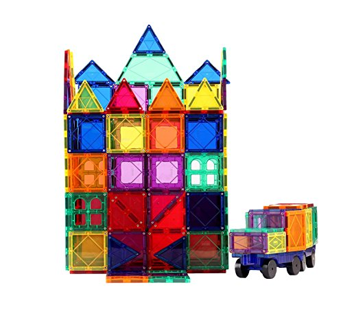 Mikikibaby 3D Magnetic Building Blocks, Scratch-resistant Surface, Stronger Magnets With Vivid Clear Color, Vehicles & Interesting Shapes In Storage Container (150) by Mikikibaby