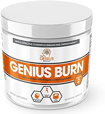 Genius Fat Burner - Thermogenic Weight Loss & Nootropic Focus Supplement - Natural Metabolism & Energy Booster for Men & Women | Thyroid Support and Appetite Suppressant w/Gymnema Sylvestre, 60 Pills