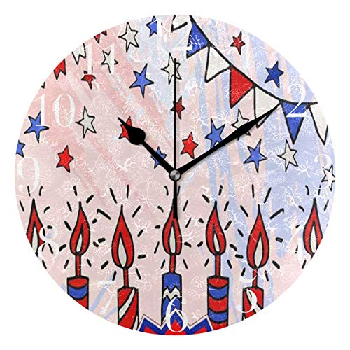 (NMCEO Round Wall Clock Blot Flags Candles Stars Us Independence Day Fourth of July Acrylic Original Clock for Home Decor Creative )