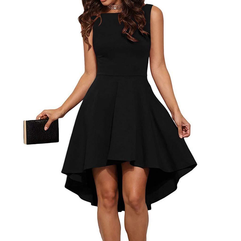 Veodhekai Womens Dress Hepburn Ruffle Fold Backless Unique O-Neck Pure Swing Dress Black