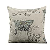 HeroNeo 45x45cm Classic European Cotton Linen Cushion Cover Throw Pillow Case Home Decor (Butterfly)
