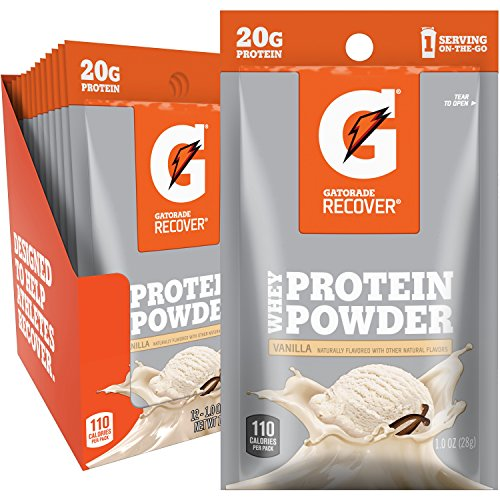 Gatorade Recover Whey Protein Powder, Vanilla, Single Serve Pouch, 20 grams of protein per serving (Pack of 12)