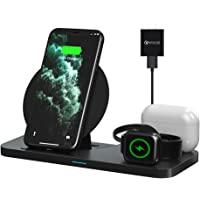 Wireless Charger, FAPO Qi Certified 3 in 1 Wireless Charging Station Compatible with Apple Watch/AirPods 1 2/AirPods Pro…