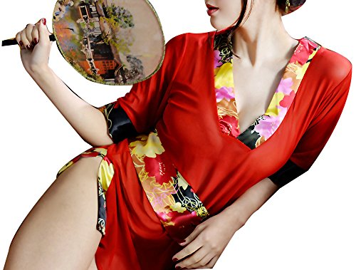 [Marshel Women Japanese Asian Costume Dresses Cosplay Red AX-JP-008] (Rikku Cosplay Costume For Sale)