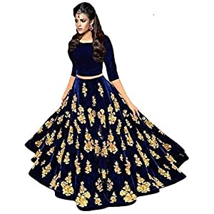 Siyaan Enterprise Women's Banglori Silk Semi-Stitched Lehenga Choli