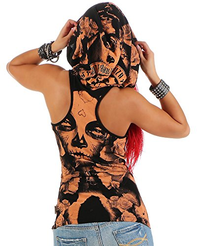 Yakuza Mujeres Ropa superior / Tank Tops Mexican Rose Hooded naranja