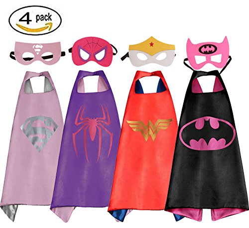 Mizzuco Comics Cartoon Dress Up Costume Satin Cape with Felt Mask 4pcs (Easy Kids Costumes)