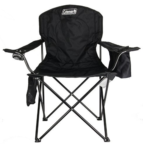 Coleman Cooler Quad Portable Camping Chair, Black - Folding Outdoor Chair