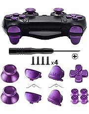 TOMSIN Metal Buttons for DualShock 4, Aluminum Metal Thumbsticks Analog Grip & Bullet Buttons & D-pad & L1 R1 L2 R2 Trigger for PS4 Controller Gen 1 Purple Metal Purple