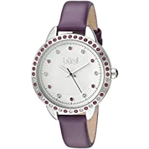 Burgi Swarovski Crystal Accented Women's Watch with Purple Genuine Leather Skinny Strap – Studded Bezel and Dial with Embossed Pattern – Japanese Quartz – BUR161PU