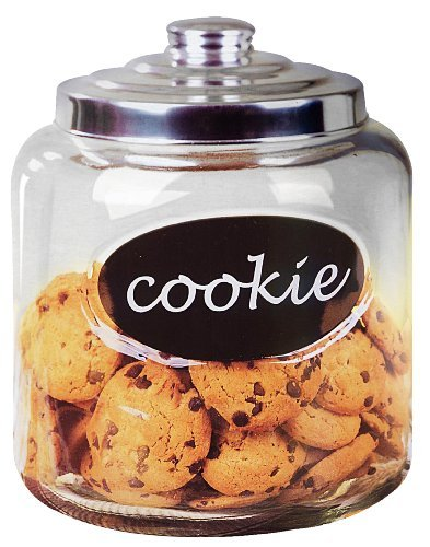 Home Basics Glass Cookie Jar with Metal Top with Handle