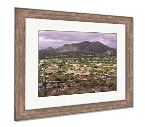 (Ashley Framed Prints High Viewpoint of Arizona North Scottsdalecavecreek Community with Mountain in, Wall Art Home Decoration, Color, 30x35 (Frame Size), Rustic Barn Wood Frame, AG6498688)