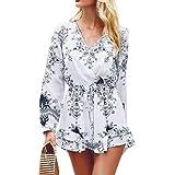 Spbamboo Women Halter Neck Boho Print Long Sleeve Mini Beachwear Dress Sundress